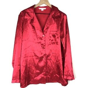 Victoria's Secret Pajama Top Satin L Sleep Shirt